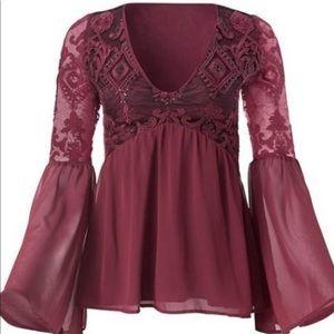 NWT Venus maroon top blouse w/ sequins sz 8 & 12